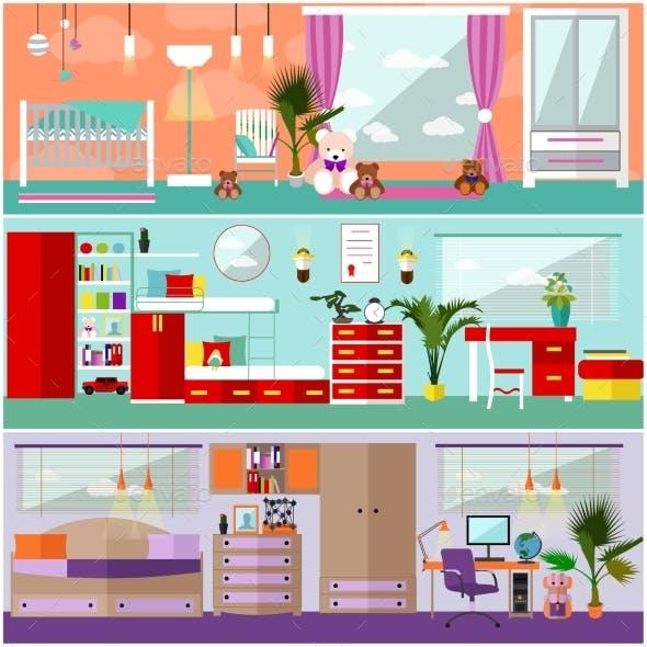 Kids Bedroom Interior In Flat Style. Vector