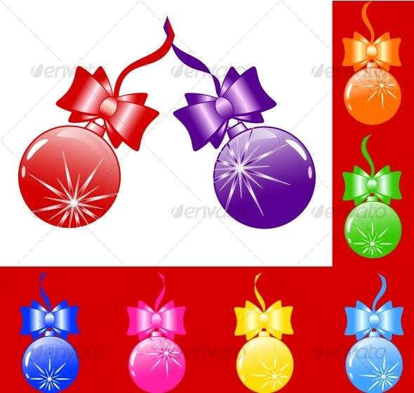 Christmas tree bulbs with bows - Christmas Seasons/Holidays