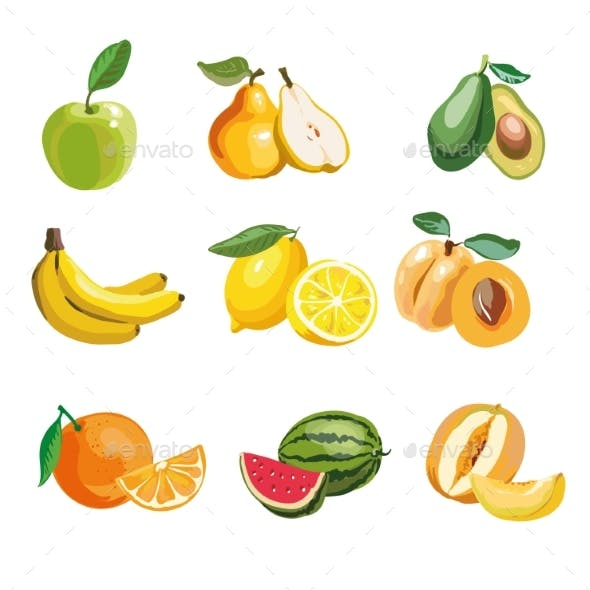 Colorful Fruit Icons Set Apple