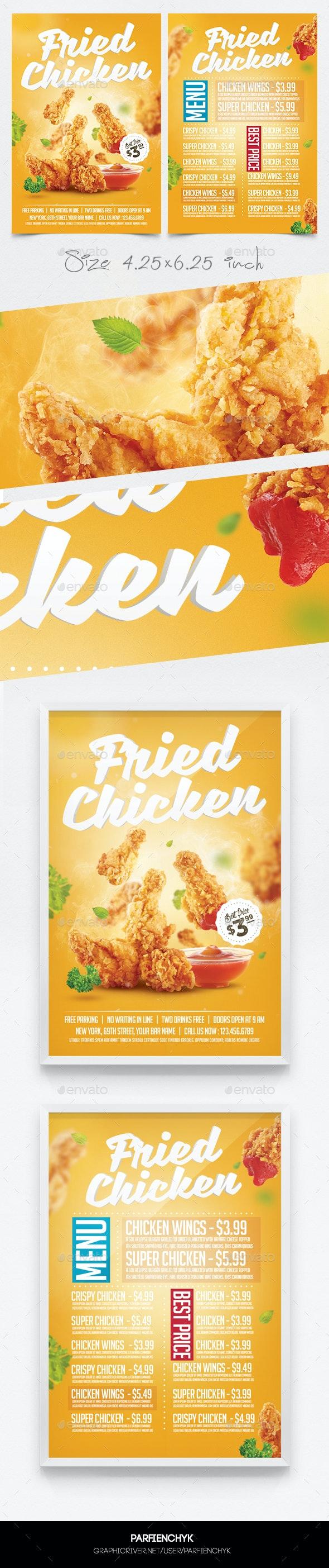 Fried Chicken Flyer Menu Template - Restaurant Flyers