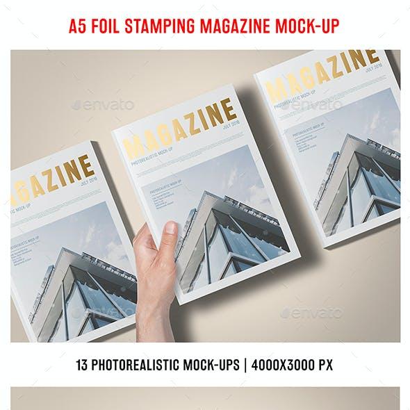 A5 Foil Stamping Magazine Mock-Up