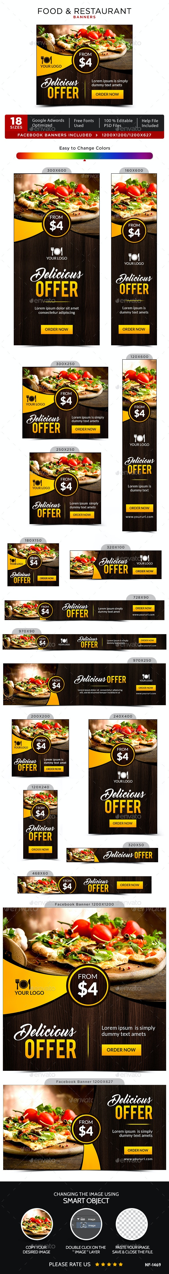 Food & Restaurant Banners - Banners & Ads Web Elements