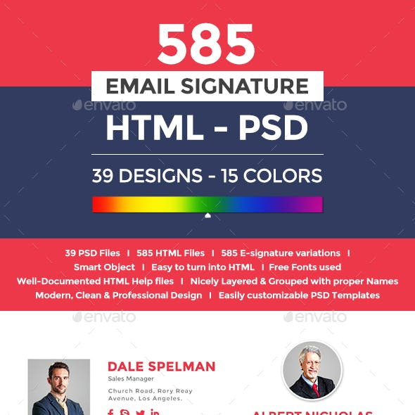 Flat & Modern Email Signatures - 585 HTML & PSD Files
