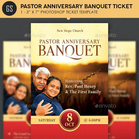 Pastor Anniversary Banquet Ticket Template