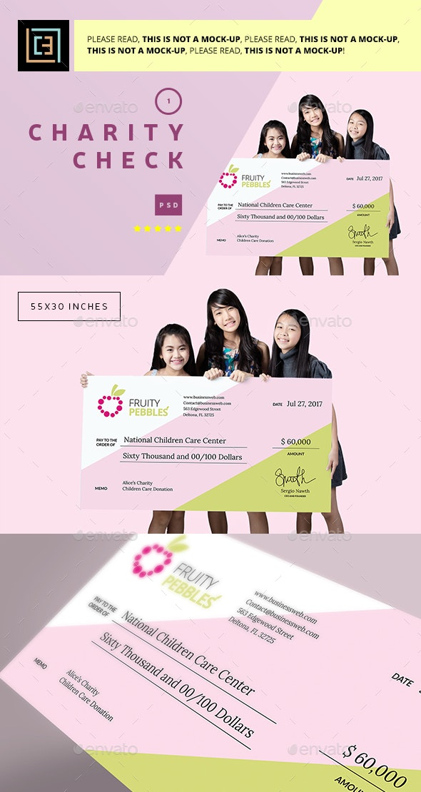 Charity Check 1 - Signage Print Templates