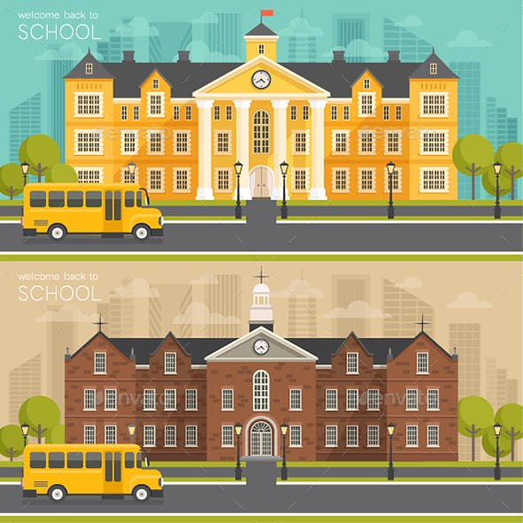 School Building, Flat Style. Vector Illustration.