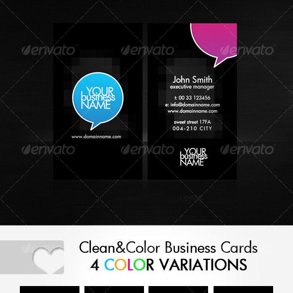 Clean Business Cards in 4 color variations