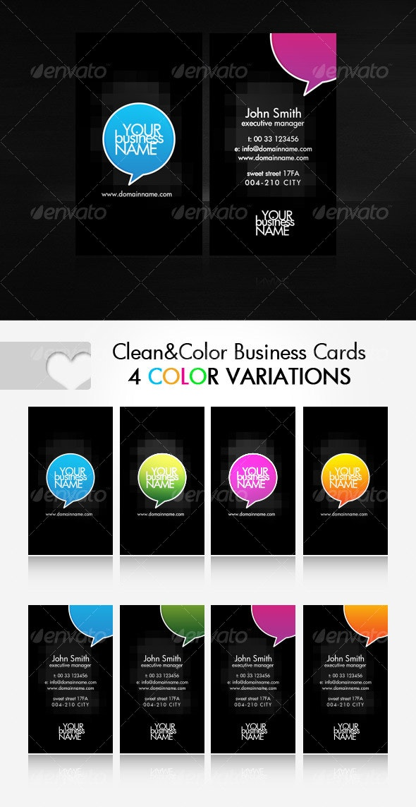 Clean Business Cards in 4 color variations - Creative Business Cards