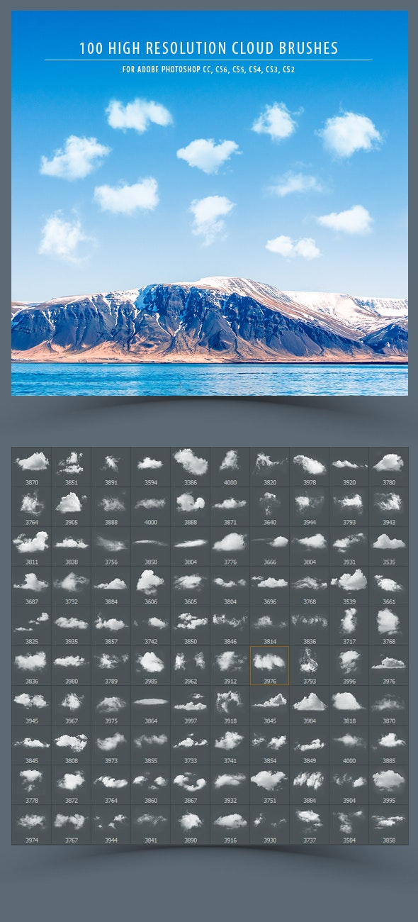 100 High Resolution Cloud Brushes - Brushes Photoshop