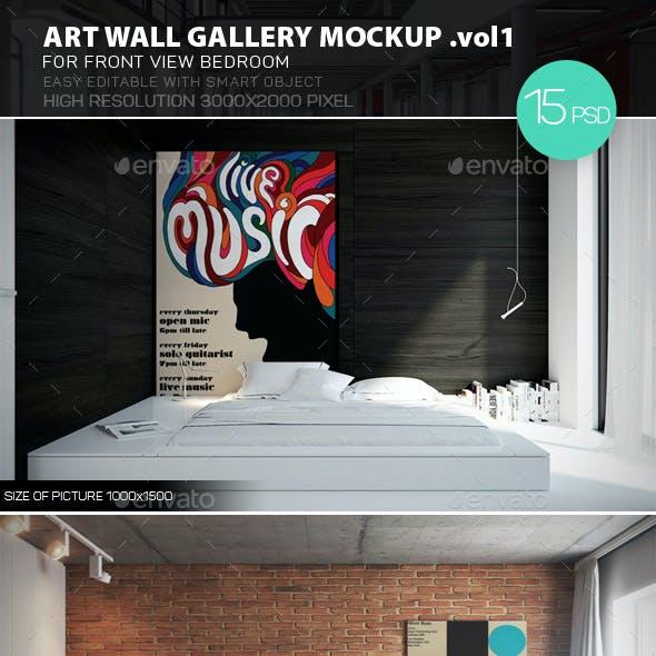 Art Wall Gallery Mockup vol.1 - Front View Bedroom
