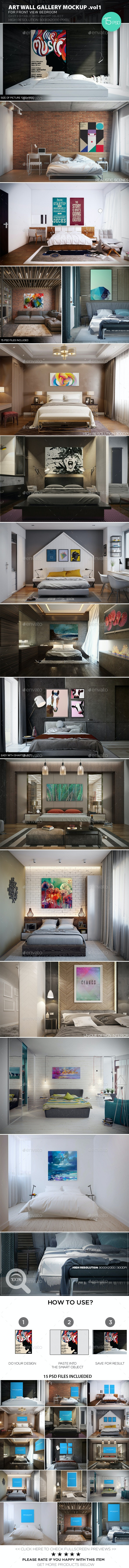 Art Wall Gallery Mockup vol.1 - Front View Bedroom - Posters Print