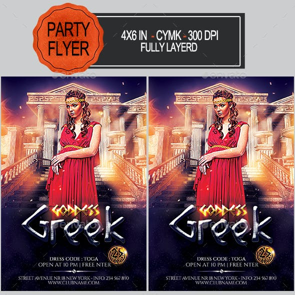Greek Goddess Party Flyer