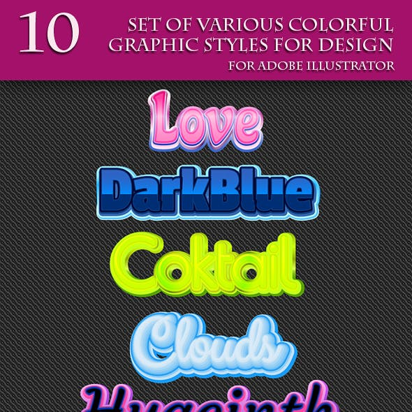 Set of Various Colorful Graphic Styles for Design