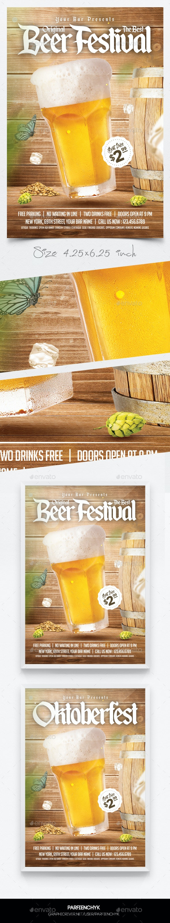 Oktoberfest Beer Flyer Template - Clubs & Parties Events