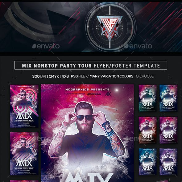 Mix Nonstop Party Tour Flyer/Poster Template