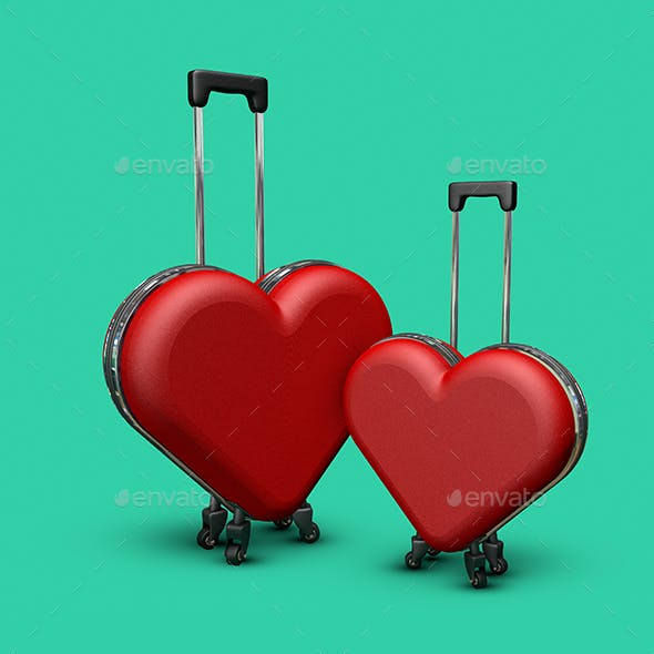 Two Red Heart Suitcases