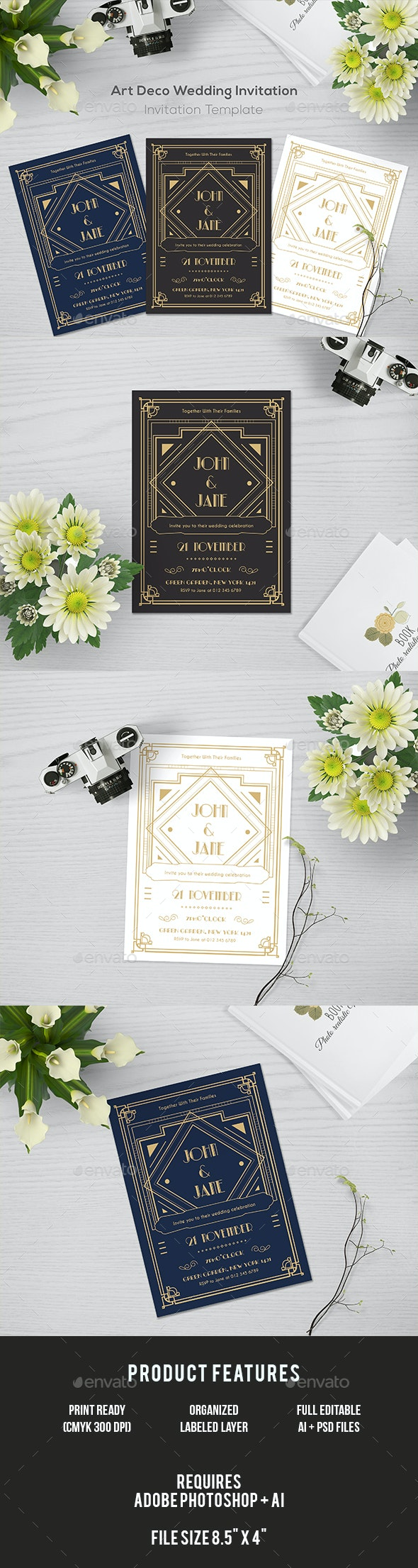 Art Deco Wedding Invitation - Invitations Cards & Invites