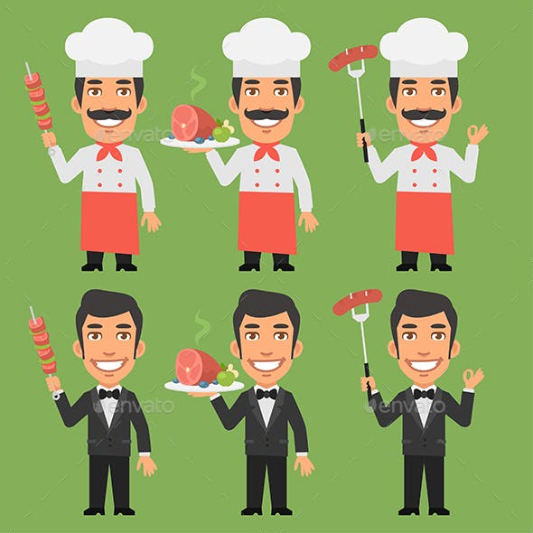 Chef and Waiter Holding Meat Dishes
