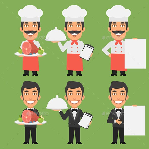 Chef and Waiter Holding Meat Tray Paper