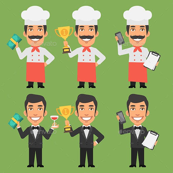 Chef and Waiter Holding Money Cup Phone