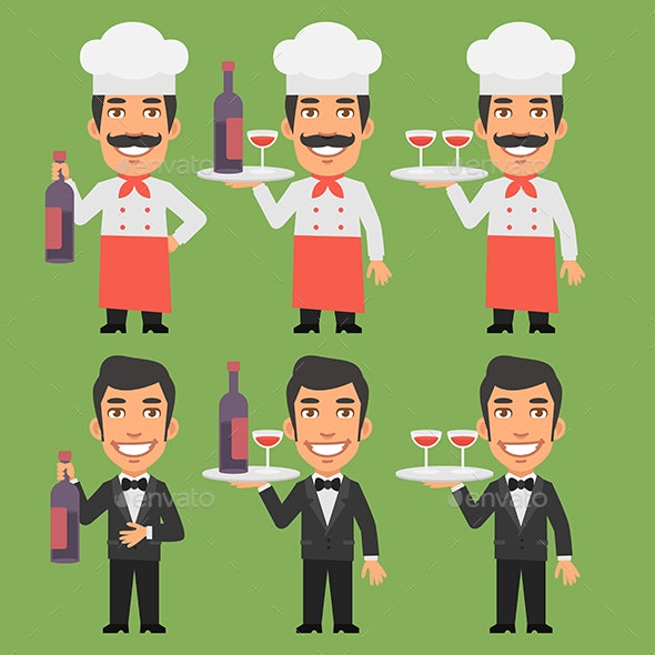 Chef and Waiter Holding Wine Bottle - People Characters