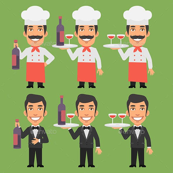 Chef and Waiter Holding Wine Bottle