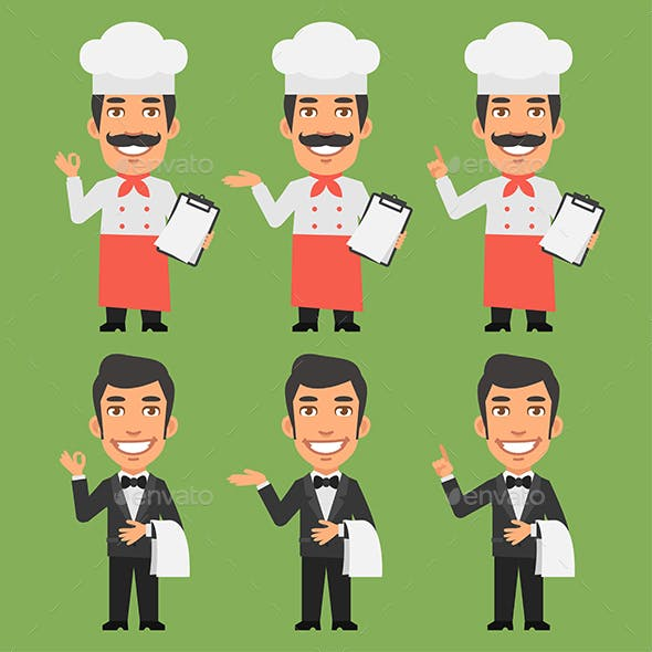 Chef and Waiter Shows and Indicates