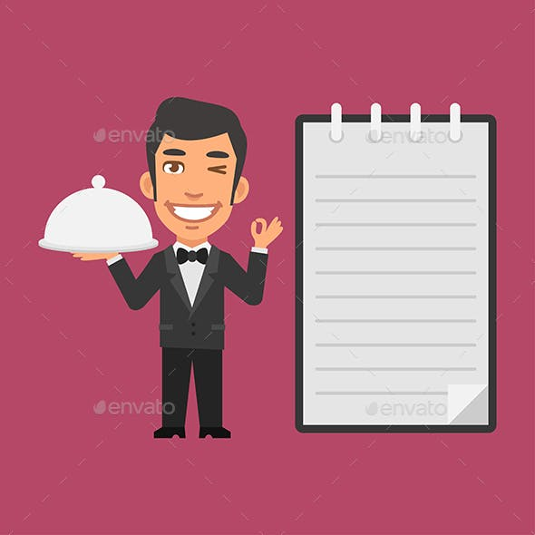 Waiter Holding Tray of Food