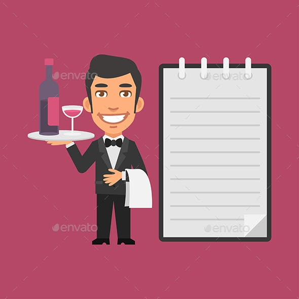 Waiter Holding Tray with Alcoholic Beverages