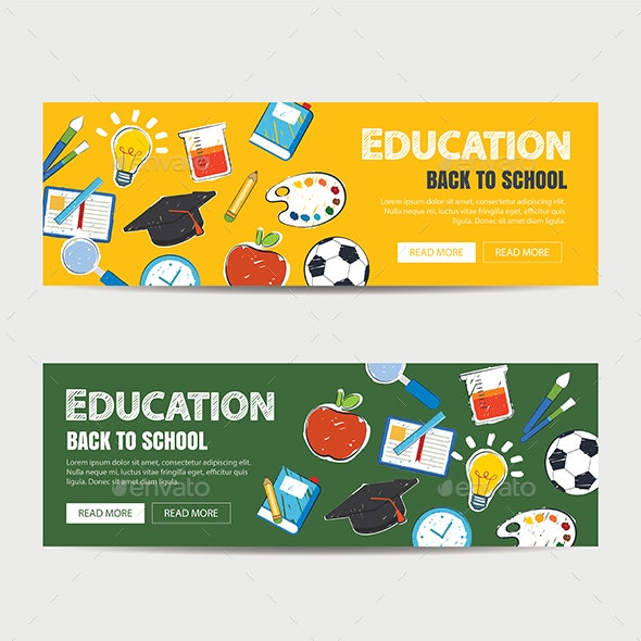 Education Banner And Back To School Background Template By Kaisorn