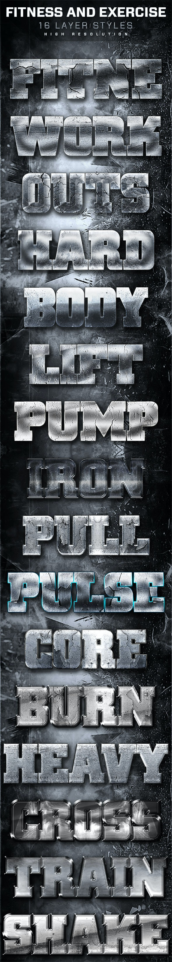 16 Fitness And Exercise Layer Styles 2 - Text Effects Styles