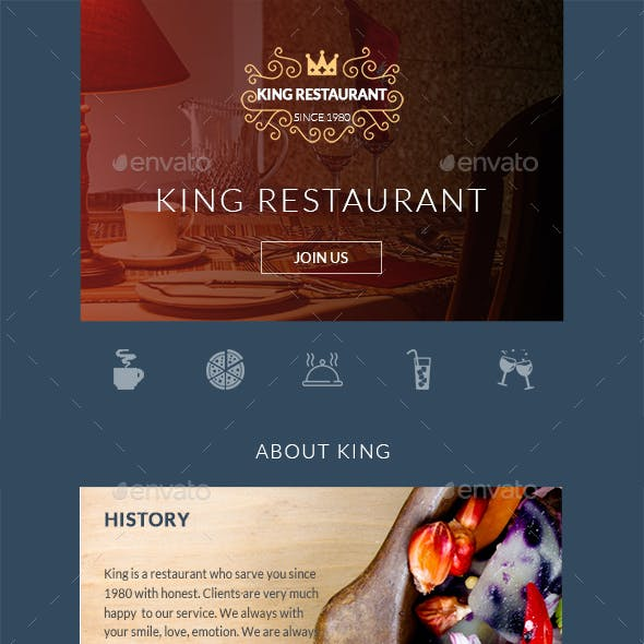 King - Restaurant Email Template