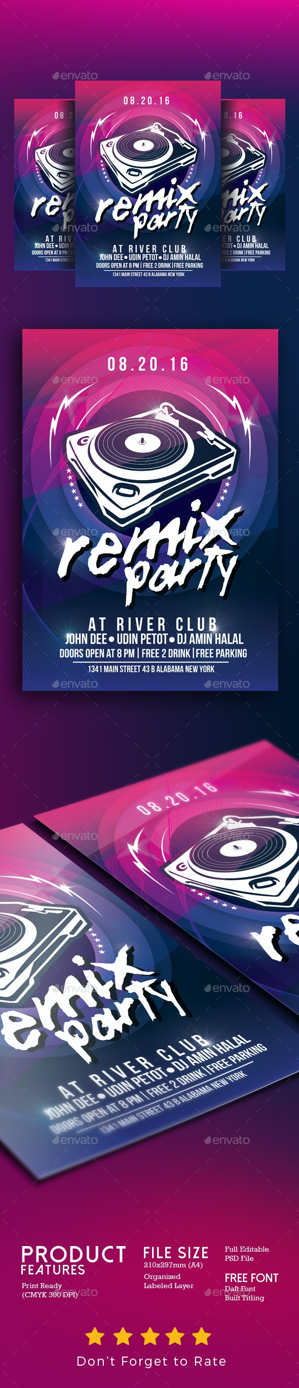 Remix Music Party - Events Flyers