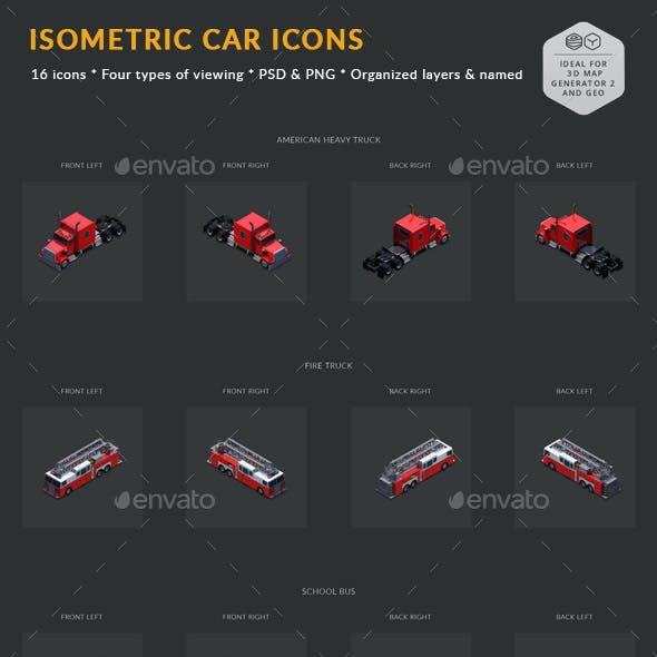 Isometric Car Icons Pack