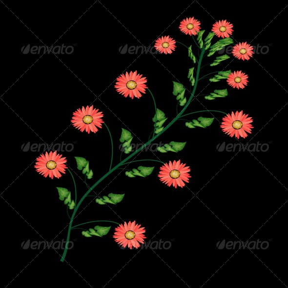 Flower with Black Bacground - Characters Vectors