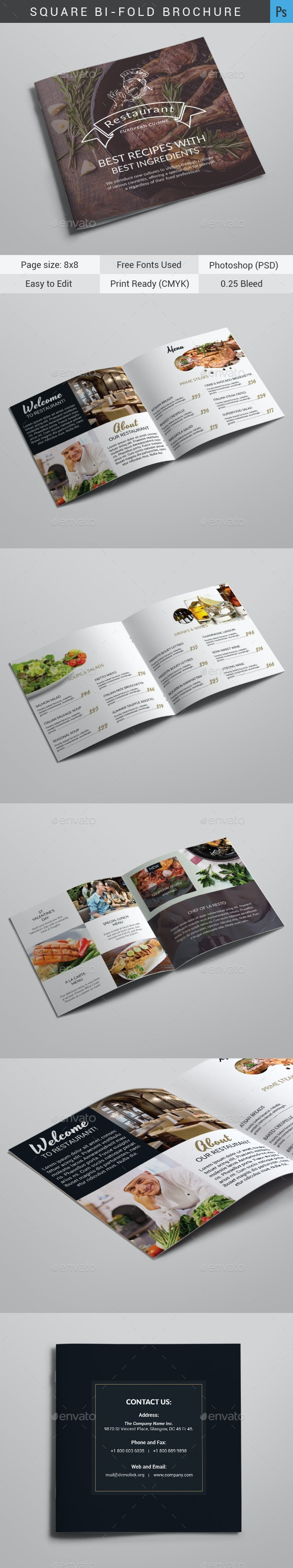 Restaurant Bi-Fold Brochure - Brochures Print Templates