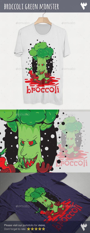 Broccoli Green Monster T-Shirt Design