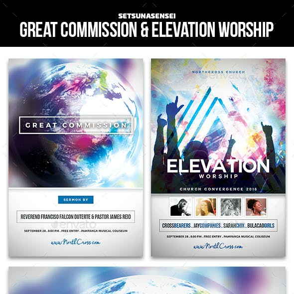 Great Commission and Elevation Worship Church Flyers