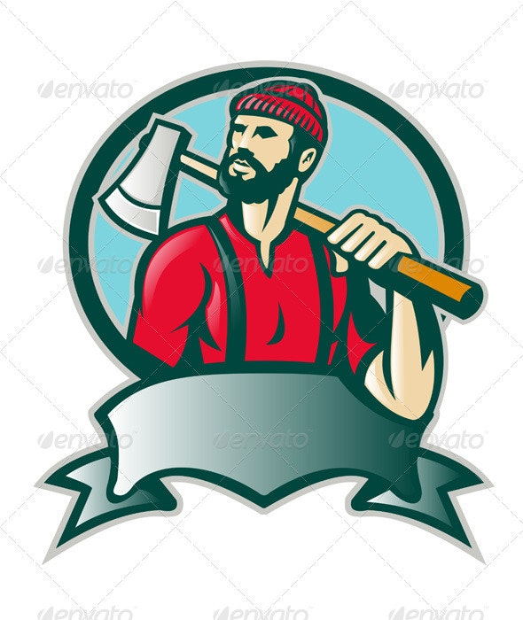 Lumberjack Woodcutter Forester With Axe - People Characters
