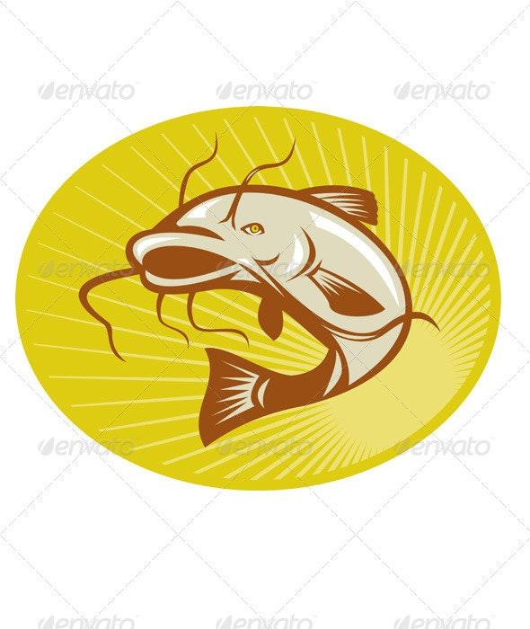 Catfish Jumping Retro - Animals Characters