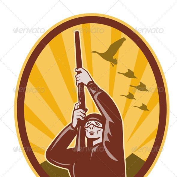 Hunter With Shotgun Rifle Aiming At Bird