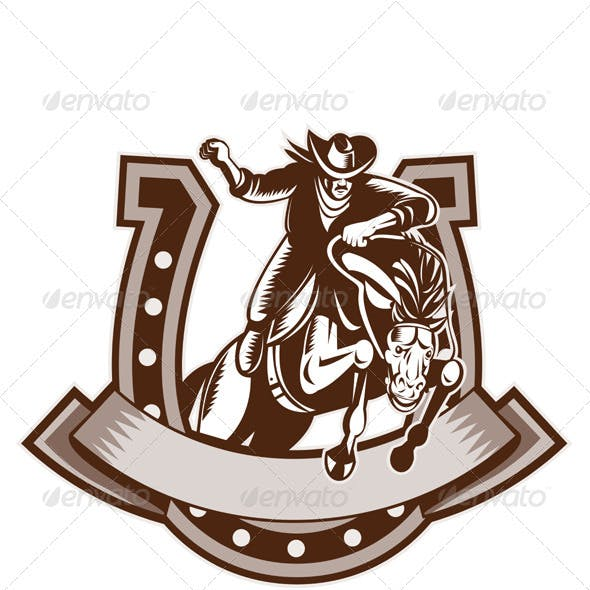 American Rodeo Cowboy Riding Horse