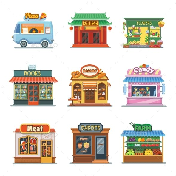 Set Of Nice Showcases Shops. Pizza, Bakery, Candy