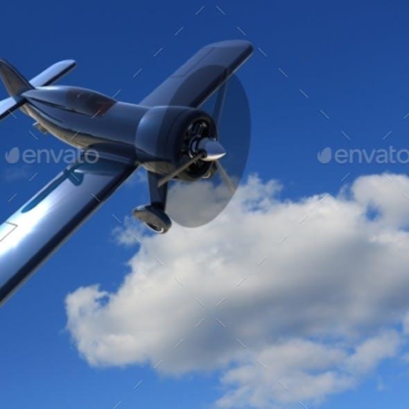 Propeller Plane Against The Sky. 3D Render