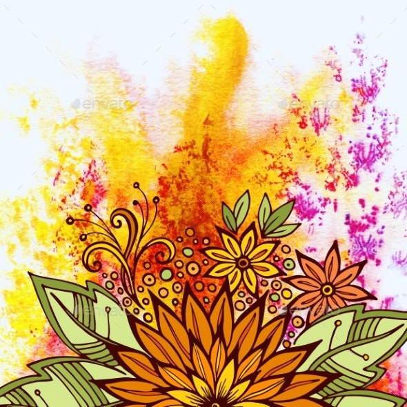 Floral Pattern On Watercolor Painting - Patterns Decorative