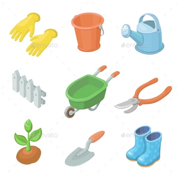 Gardening Work Tools Icons Set. Nice Equipment