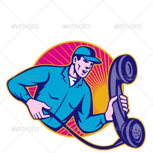 Telephone Repairman Worker Holding Retro Phone