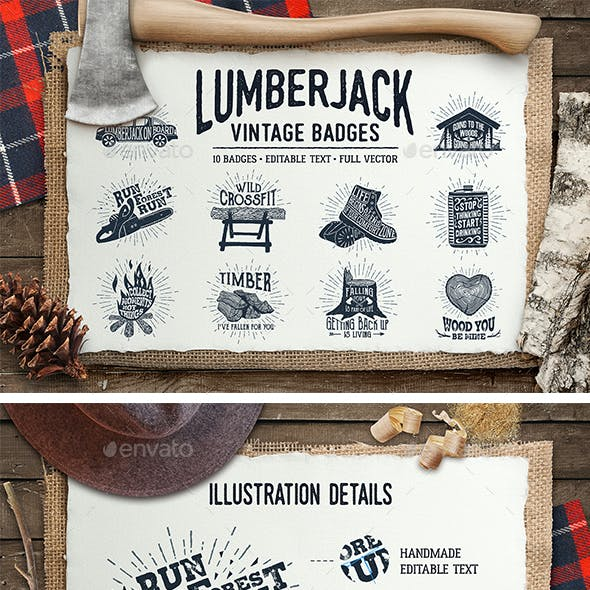 Lumberjack. Vintage Badges (part 1)