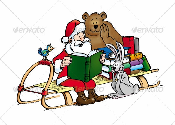 Santa Claus with animals and with books