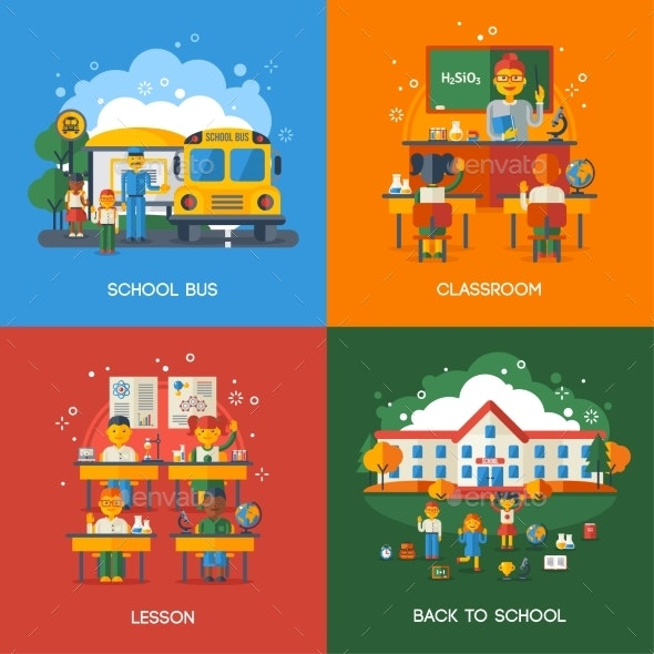 Bus Stop, Classroom And Lesson Concepts - People Characters
